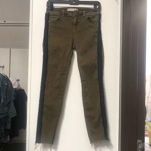 Zara Army Green Skinny Jeans